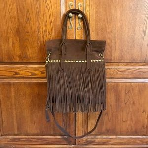 Lucky Brand Chocolate Suede Fringe Shoulder Bag